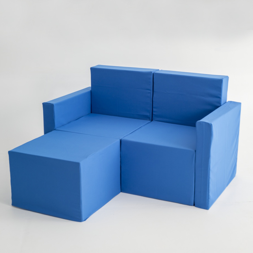 Sofa chaise longue de dos plazas de cart n con fundas doos box - Fundas de sofa con chaise longue ...