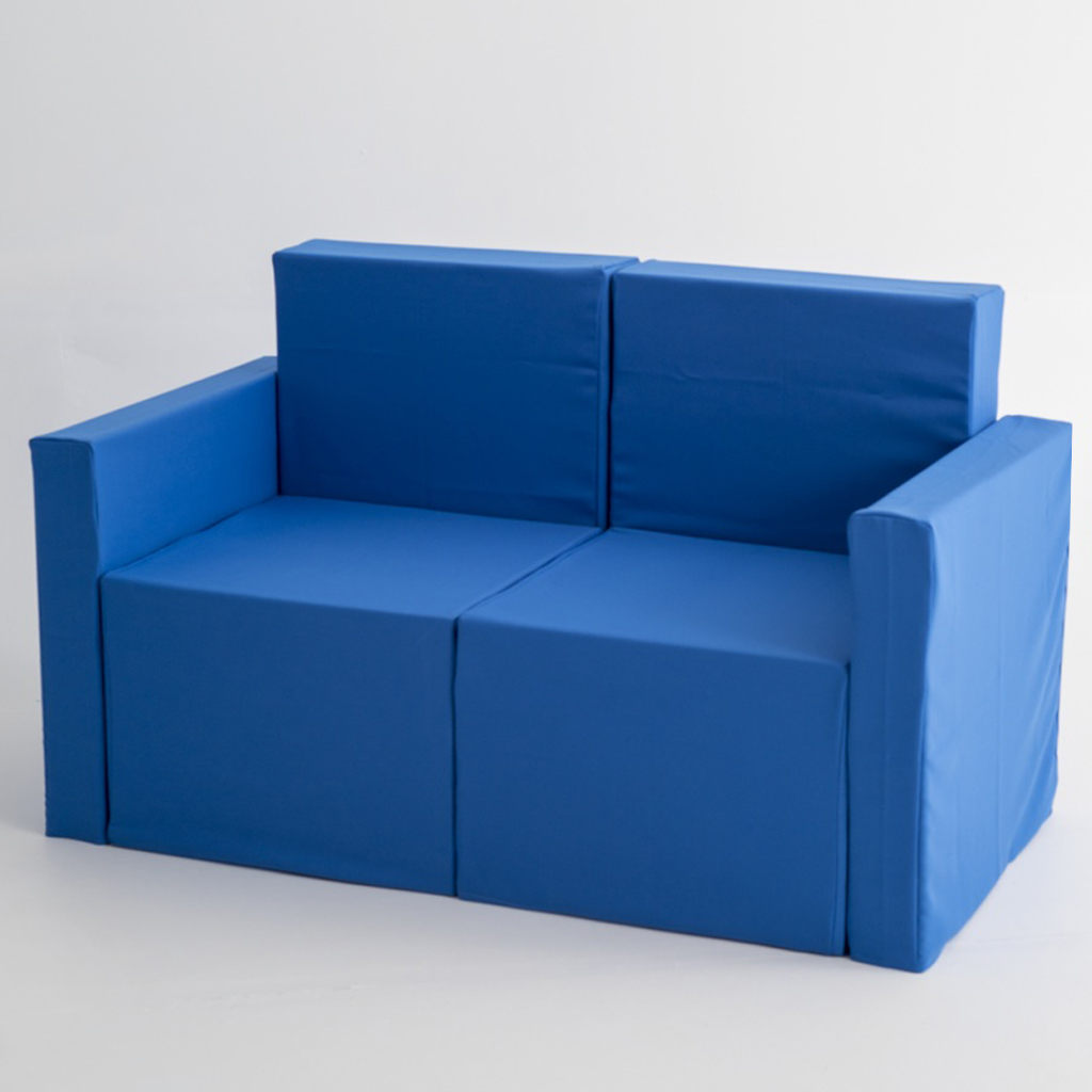 Sofa de dos plazas de cart n con fundas de tela doos box - Fundas para sofas con cheslong ...
