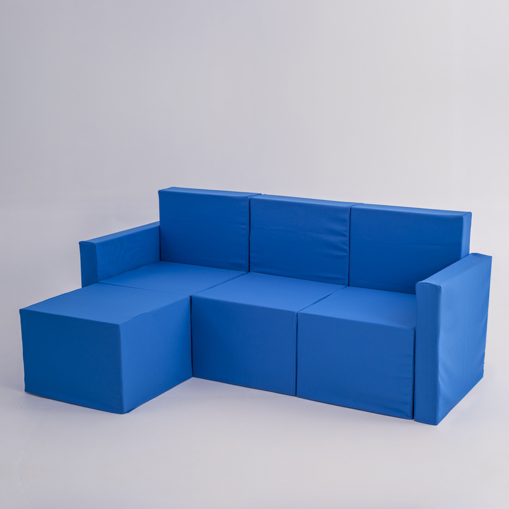 Sof chaise longue de tres plazas de cart n con fundas doos box - Fundas de sofa con chaise longue ...